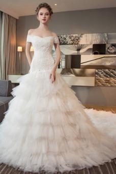 Vestido de novia Cola Real Falta Natural Cordón Camiseta Corte-A