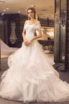 Vestido de novia Playa Capa de encaje Natural Falta largo Cordón