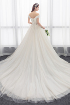 Vestido de novia largo Encaje Escote en V Formal Otoño Hinchado