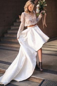 Vestido de novia Manga larga Natural Joya Encaje Alto Bajo Playa