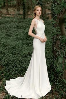 Vestido de novia Corte Recto Moderno Joya Bordado Natural largo