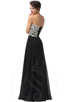 Vestido de noche Corte-A Cordón Natural Escote Corazón Encaje Cola Barriba