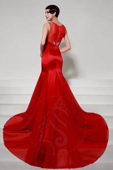 Vestido de noche Corte Sirena Sin mangas Invierno largo Elegante Cremallera