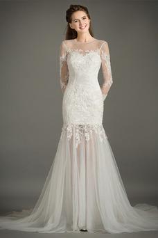 Vestido de novia Natural Abalorio Joya Capa de encaje Cremallera Camiseta
