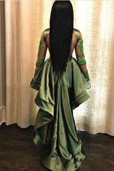 Vestido de fiesta Capa de encaje Escote con cuello Alto Asimétrico Dobladillo