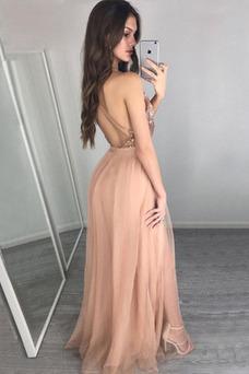 Vestido de fiesta sexy Estrellado tul largo Drapeado Natural