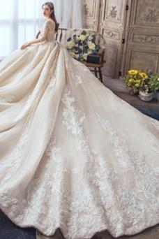 Vestido de novia tul Mangas Illusion Joya Corte-A Espalda con ojo de cerradura