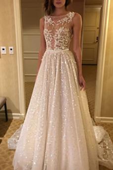 Vestido de novia primavera Sin mangas Natural tul largo Corte-A