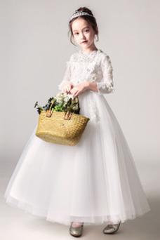 Vestido niña ceremonia Natural Rosetón Acentuado Encaje Camiseta Corte-A Manga larga