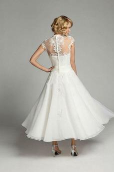 Vestido de novia Clasicos Escote con cuello Alto Manga corta Natural