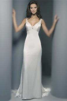 Vestido de novia Natural Sin mangas largo Escote en V Cremallera Gasa
