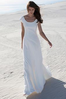 Vestido de novia Manga tapada Escote redondo Sin cintura Corte-A Pura espalda