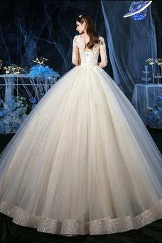 Vestido de novia Natural Sin mangas Estrellado Iglesia Falta Corte-A