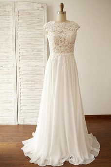 Vestido de novia Sin mangas Pera Capa de encaje Hasta el suelo Encaje