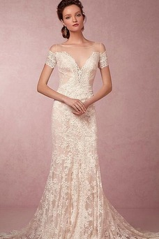 Vestido de novia Corte Sirena Manga corta Escote sexy largo Alto cubierto