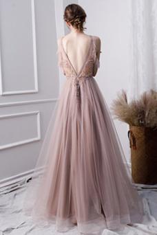 Vestido de noche Capa Multi Corte-A Joya tul largo Otoño