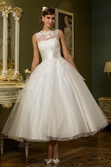 Vestido de novia Natural Cremallera Barco Hasta el Tobillo primavera