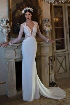 Vestido de novia primavera Pura espalda Queen Anne Natural Encaje Cola Catedral