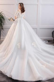 Vestido de novia Tallas grandes Camiseta Cola Corte Escote con Hombros caídos