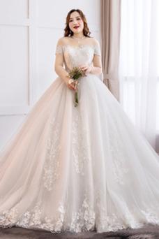 Vestido de novia Manga corta Encaje Corte-A Cordón largo Natural