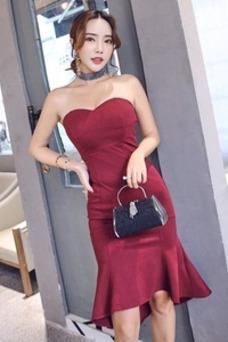 Vestido de cóctel Oscilación Corte Sirena Drapeado Hasta la Rodilla Cremallera