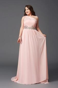 Vestido de noche Corte-A Cola Barriba Elegante Cremallera Un sólo hombro