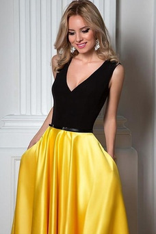 Vestido de fiesta primavera Satén Elástico Corte-A Falta Escote en V
