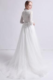 Vestido de novia Abalorio Asimètrico Encaje Moderno Escote con cuello Alto