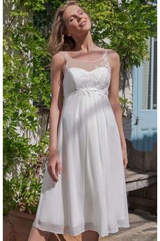 Vestido de novia Embarazadas Imperio Escote redondo Hasta la Rodilla