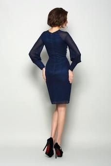 Vestido de madrina Otoño Gasa Elegante Natural Corte Recto Corto
