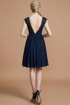 Vestido de dama de honor Gasa Verano Sin mangas Drapeado Elegante Escote en V