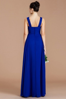 Vestido de dama de honor Plisado Tiras anchas Elegante Gasa Sin mangas Otoño