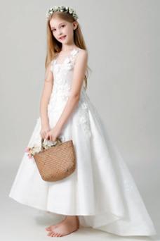 Vestido niña ceremonia primavera Sin mangas Natural Rosetón Acentuado Hasta el suelo
