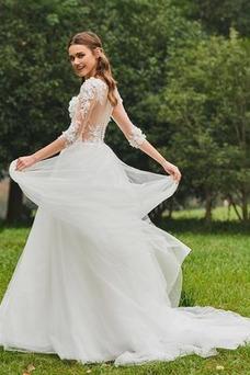 Vestido de novia Cola Barriba Barco tul Sin mangas Corte-A Pura espalda