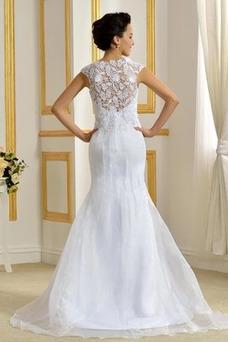 Vestido de novia Corte Sirena Alto cubierto Elegante Delgado Capa de encaje