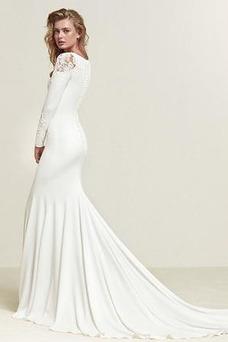 Vestido de novia Manga larga Corte Sirena Invierno Camiseta Dobladillos