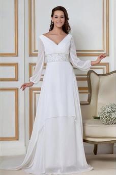 Vestido de novia Natural largo Dobladillos Corte-A Cremallera Escote en V