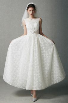 Vestido de novia Sencillo Drapeado Falta Natural Encaje Corte-A