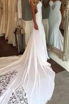 Vestido de novia vendimia Barco Fuera de casa Otoño Espalda Descubierta