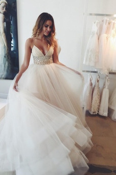 Vestido de novia Corte-A Cristal Playa Baja escote en V tul Escote de Tirantes Espaguetis