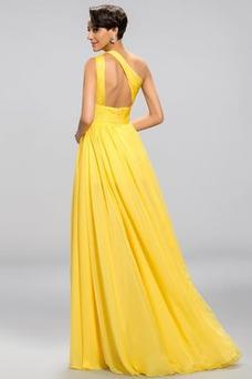 Vestido de noche Espalda Descubierta Natural Apertura Frontal Un sólo hombro