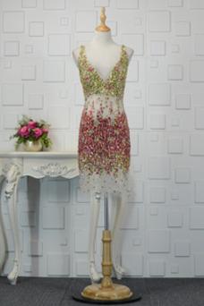 Vestido de cóctel Corto Sin mangas Escote en V primavera tul Falta