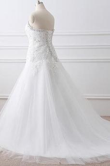 Vestido de novia Abalorio Escote Corazón Iglesia largo Cordón Natural