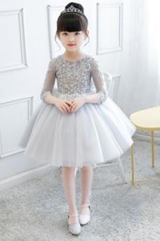 eb50b9767 Vestido niña ceremonia Corte-A Encaje Manga de longitud 3/4 Falta Natural  ...