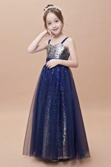 Vestido niña ceremonia Escote Cuadrado Corpiño Con lentejuelas tul Con lentejuelas