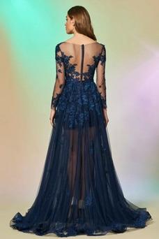 Vestido de noche primavera Pura espalda Corte-A Drapeado Baja escote en V