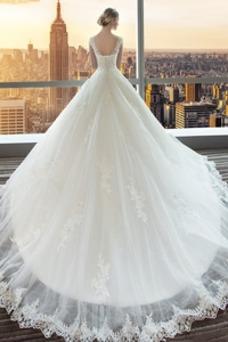 Vestido de novia Invierno Cola Real Barco Sin mangas Satén Natural