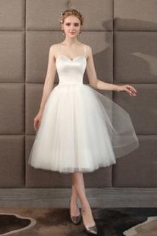 Vestido de novia tul Escote de Tirantes Espaguetis Sin mangas Verano