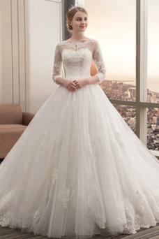 Vestido de novia Invierno Manga de longitud 3/4 Corte-A Cola Catedral