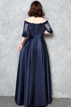 Vestido de noche Escote con Hombros caídos Satén Corte-A Cordón Apliques